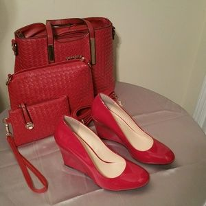 Jessica Simpson Red Patent Wedge Sz 10